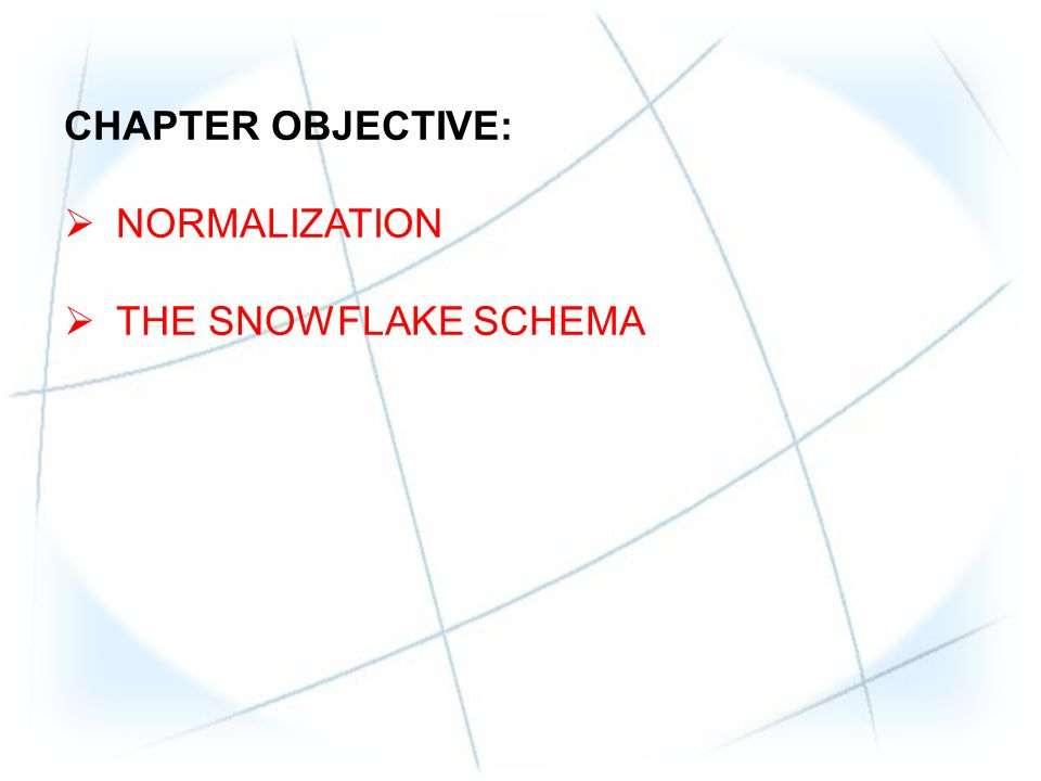 CHAPTER OBJECTIVE: NORMALIZATION THE SNOWFLAKE SCHEMA