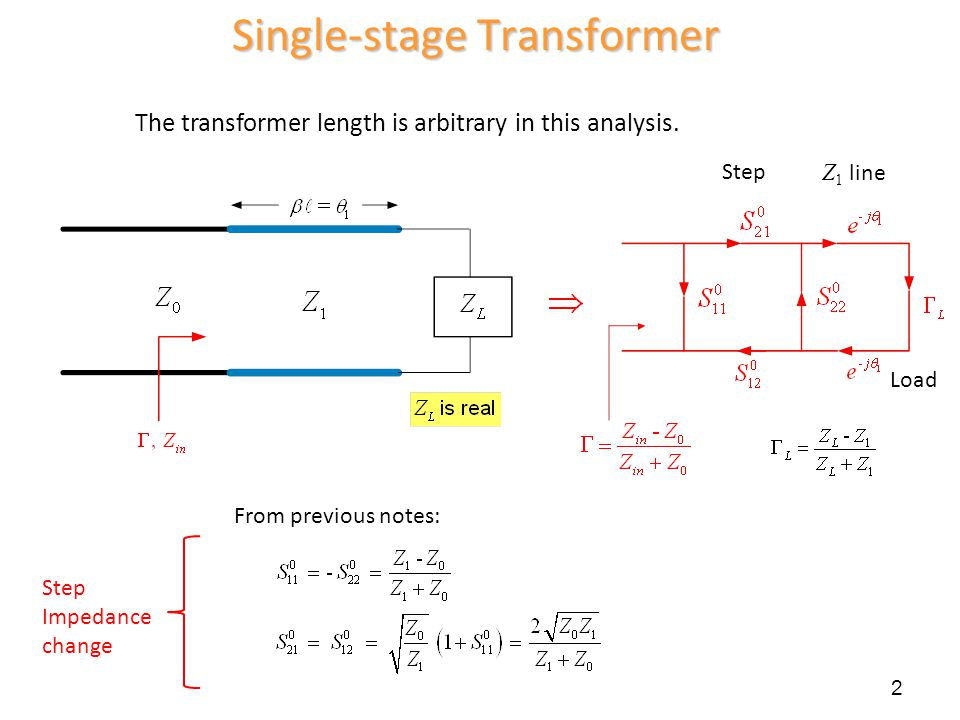 Single-stage Transformer Step Impedance change 2 From previous notes: Step Z 1 line Load The transformer length is arbitrary in this analysis.