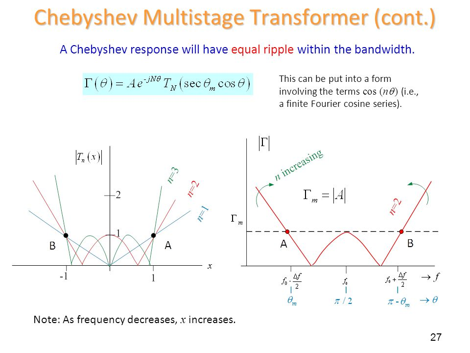 27 Chebyshev Multistage Transformer (cont.) A Chebyshev response will have equal ripple within the bandwidth. This can be put into a form involving th