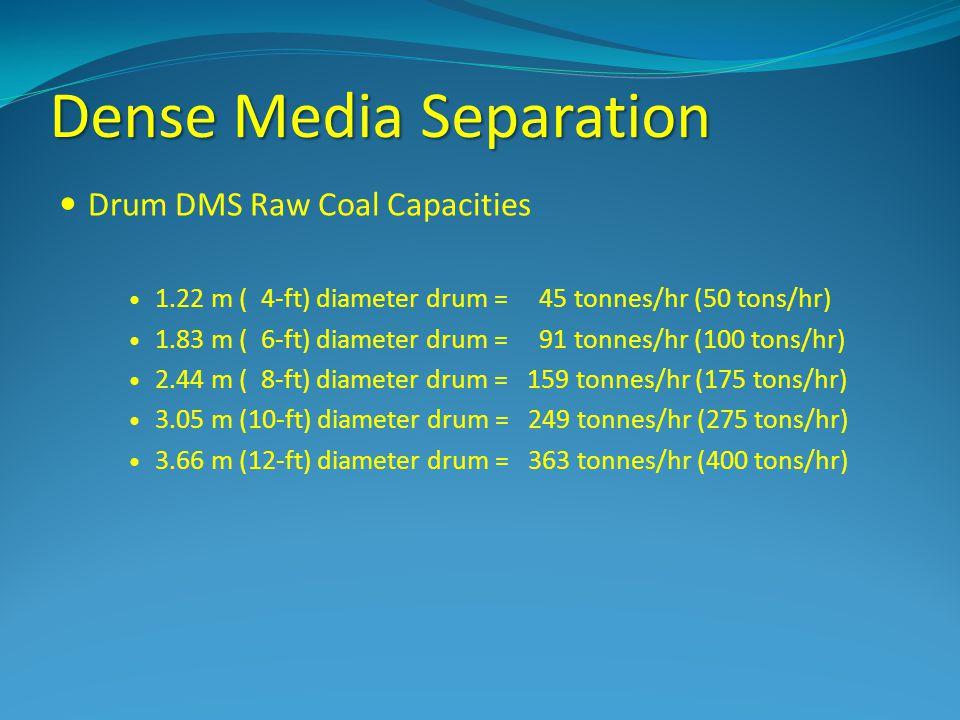 Dense Media Separation Drum DMS Raw Coal Capacities 1.22 m ( 4-ft) diameter drum = 45 tonnes/hr (50 tons/hr) 1.83 m ( 6-ft) diameter drum = 91 tonnes/