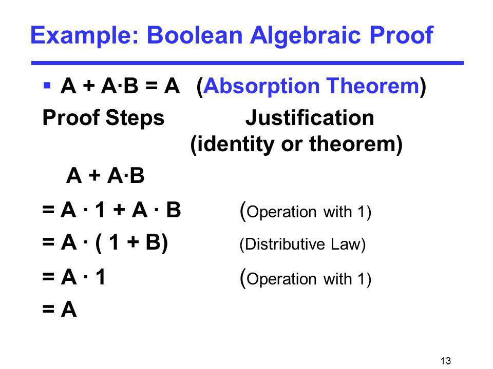 13 Example: Boolean Algebraic Proof A + A·B = A (Absorption Theorem) Proof Steps Justification (identity or theorem) A + A·B =A · 1 + A · B ( Operatio