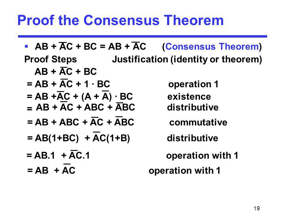 19 AB + AC + BC = AB + AC (Consensus Theorem) Proof Steps Justification (identity or theorem) AB + AC + BC = AB + AC + 1 · BC operation 1 = AB +AC + (