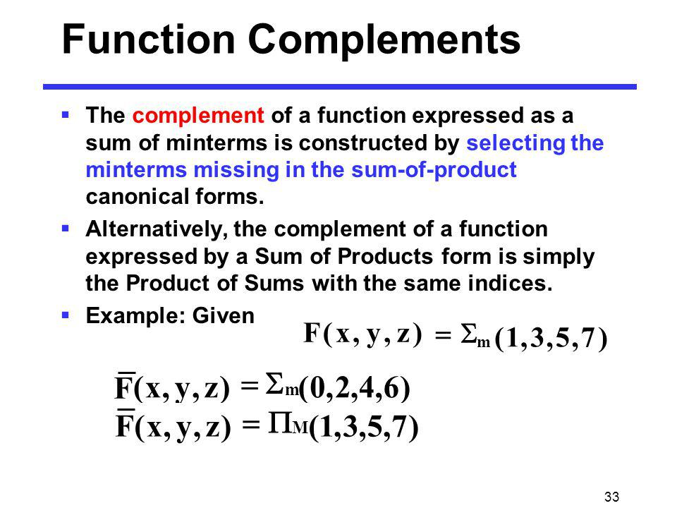 33 Function Complements The complement of a function expressed as a sum of minterms is constructed by selecting the minterms missing in the sum-of-pro