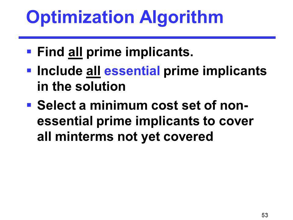 53 Optimization Algorithm Find all prime implicants. Include all essential prime implicants in the solution Select a minimum cost set of non- essentia