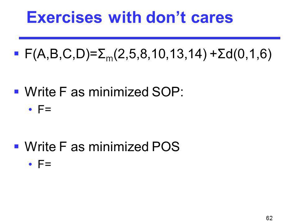 62 Exercises with dont cares F(A,B,C,D)=Σ m (2,5,8,10,13,14) +Σd(0,1,6) Write F as minimized SOP: F= Write F as minimized POS F=