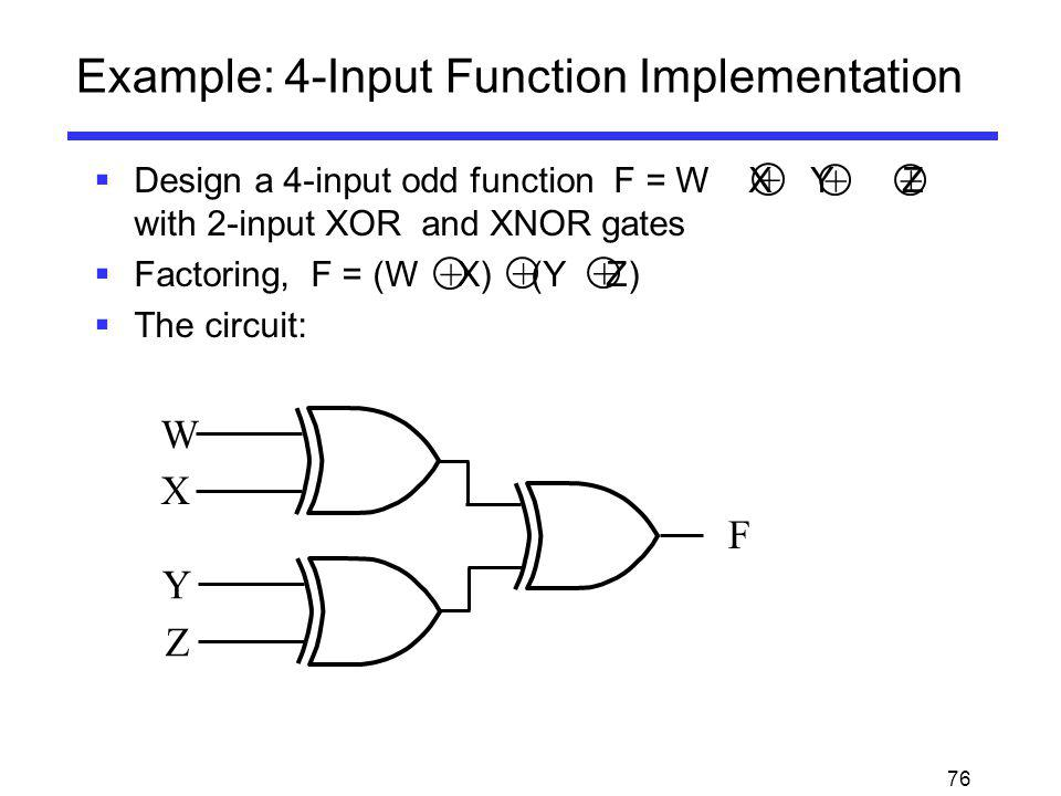 76 Example: 4-Input Function Implementation Design a 4-input odd function F = W X Y Z with 2-input XOR and XNOR gates Factoring, F = (W X) (Y Z) The c