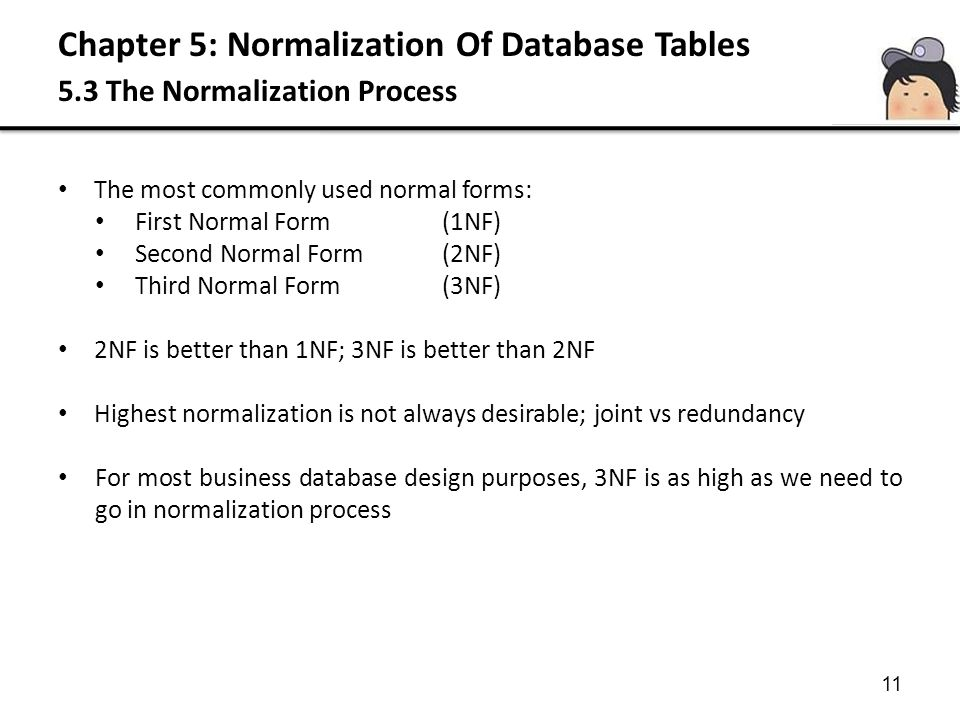 Chapter 5: Normalization Of Database Tables 5.3 The Normalization Process 11 The most commonly used normal forms: First Normal Form(1NF) Second Normal