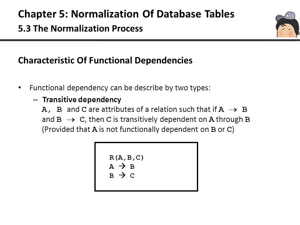 Chapter 5: Normalization Of Database Tables 5.3 The Normalization Process Characteristic Of Functional Dependencies Functional dependency can be descr