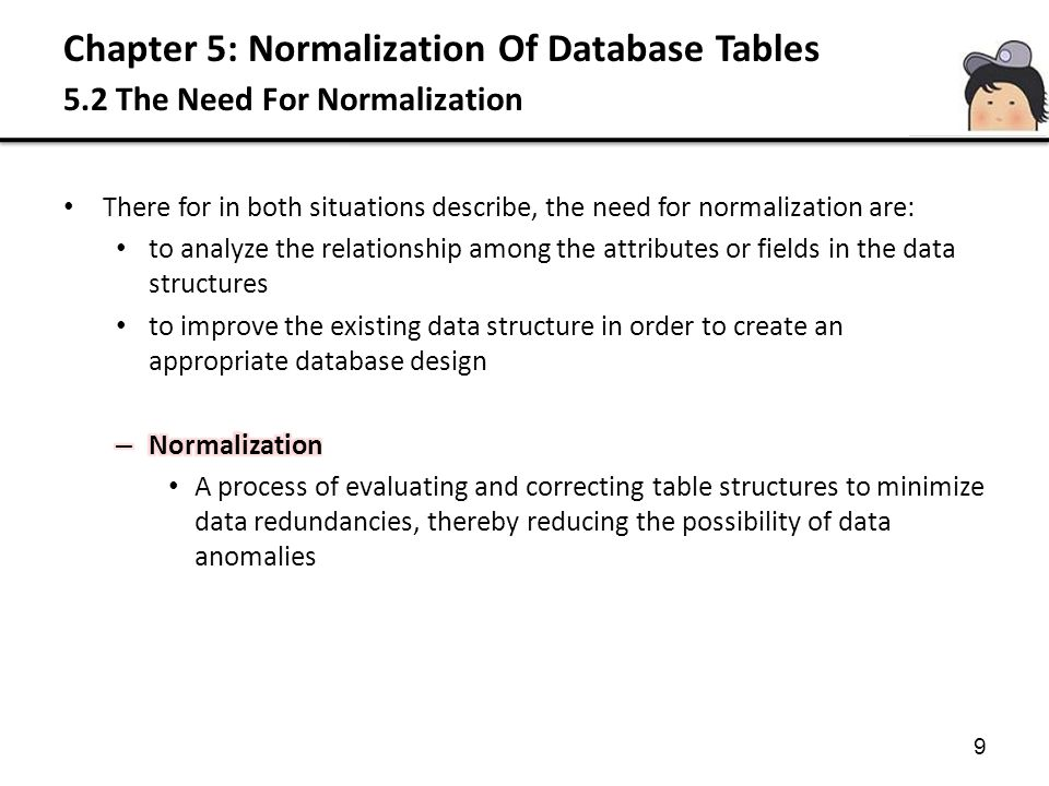 Chapter 5: Normalization Of Database Tables 5.3 The Normalization Process Third Normal Form (3NF) A relation that is in 1NF and 2NF and which no non-PK attribute is transitively dependent on the PK Based on the concept of transitive dependency, where; A, B and C are attributes of a relation such that if A B and B C then C is transitively dependent on A through B (Provided that A is not functionally dependent on B or C ) 3NF applies to relations with transitive dependency A relation that have no transitive dependency are already in 3NF