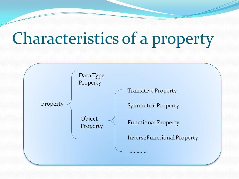 Characteristics of a property Property Data Type Property Object Property Functional Property Transitive Property Symmetric Property ………… InverseFunctional Property