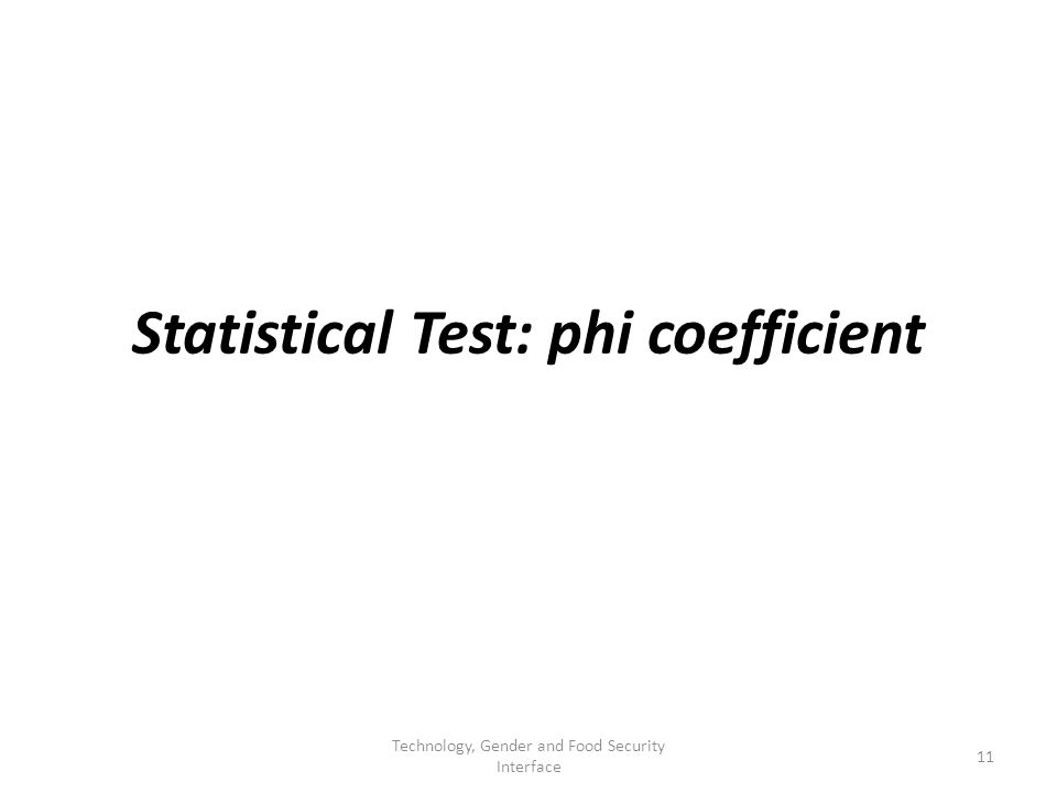 Statistical Test: phi coefficient 11 Technology, Gender and Food Security Interface