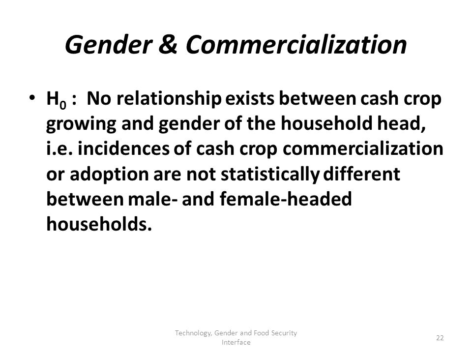 Gender & Commercialization H 0 : No relationship exists between cash crop growing and gender of the household head, i.e.