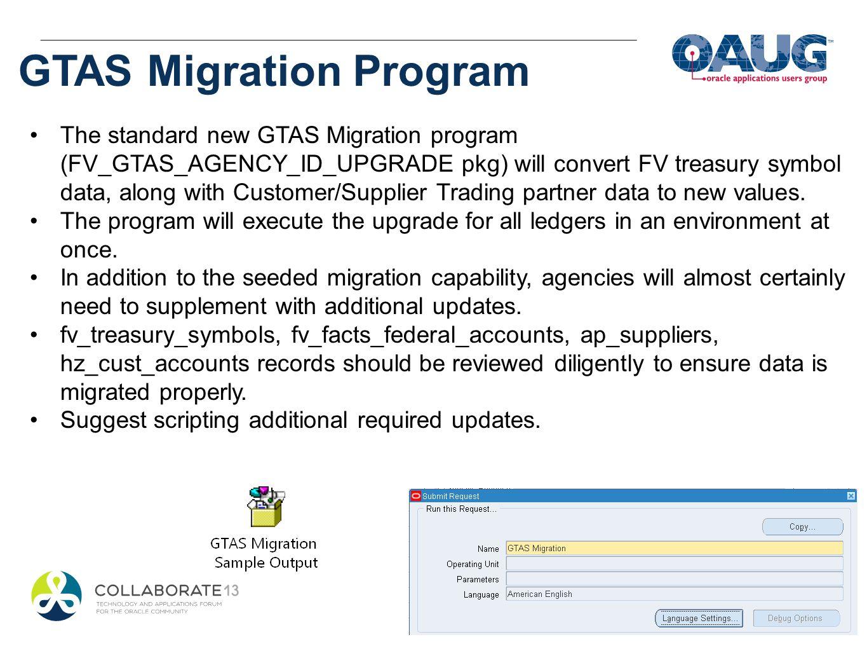 GTAS Migration Program The standard new GTAS Migration program (FV_GTAS_AGENCY_ID_UPGRADE pkg) will convert FV treasury symbol data, along with Custom