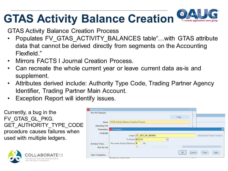 GTAS Activity Balance Creation GTAS Activity Balance Creation Process Populates FV_GTAS_ACTIVITY_BALANCES table…with GTAS attribute data that cannot b