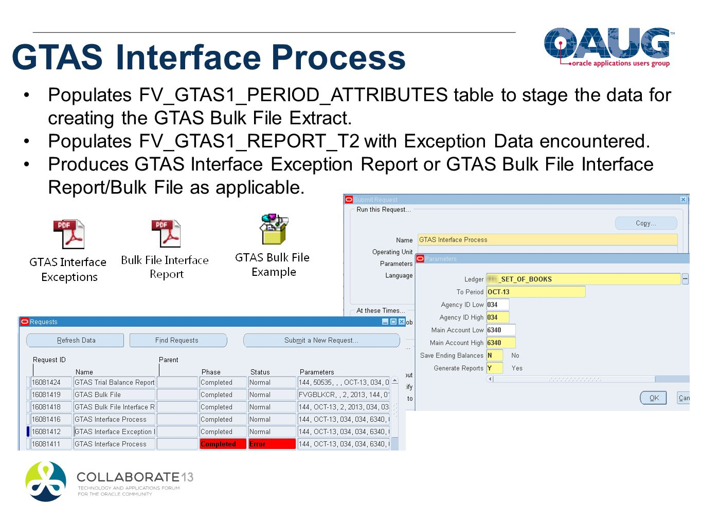 GTAS Interface Process Populates FV_GTAS1_PERIOD_ATTRIBUTES table to stage the data for creating the GTAS Bulk File Extract. Populates FV_GTAS1_REPORT