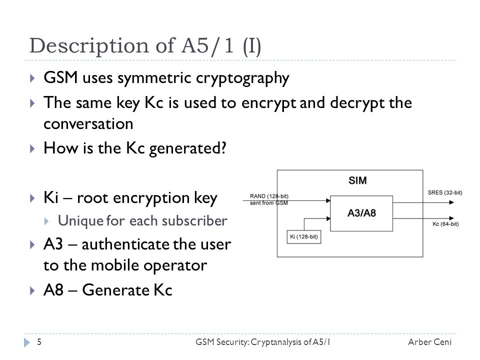 Description of A5/1 (I) GSM uses symmetric cryptography The same key Kc is used to encrypt and decrypt the conversation How is the Kc generated.