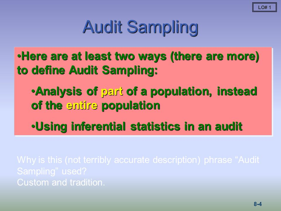 Population Size: Attributes Sampling Population size is not often important in determining sample sizes for attributes sampling, so we skip Advanced Module 1.