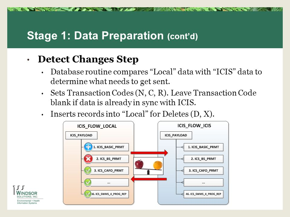Stage 1: Data Preparation (contd) Detect Changes Step Database routine compares Local data with ICIS data to determine what needs to get sent.