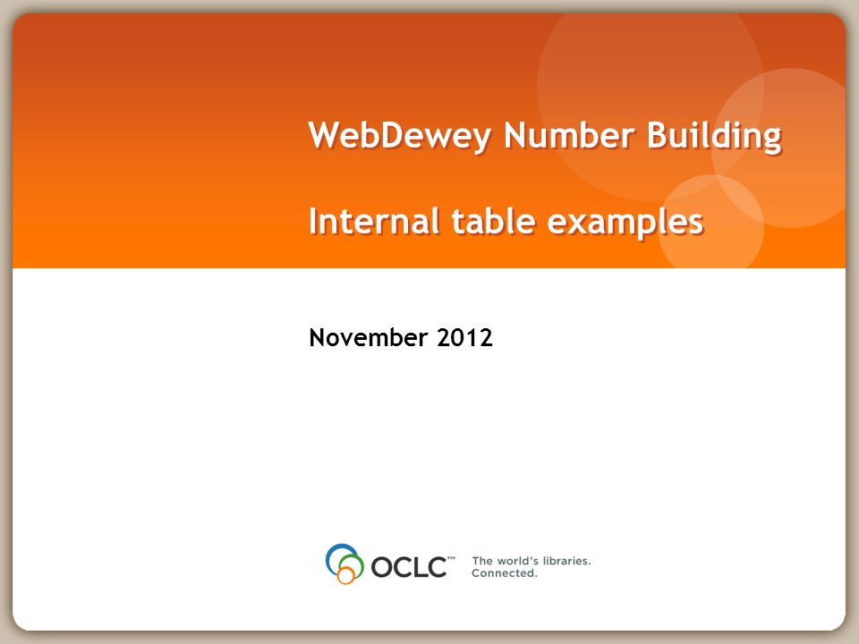 WebDewey Number Building Internal table examples November 2012