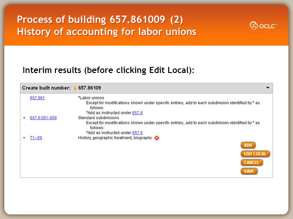 Process of building 657.861009 (2) History of accounting for labor unions Interim results (before clicking Edit Local):