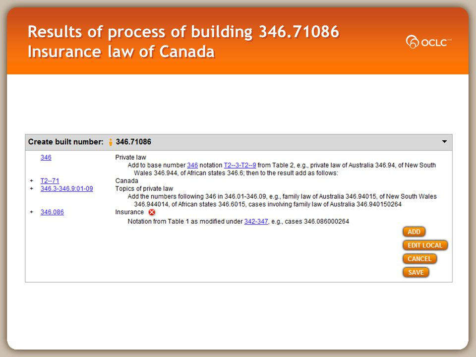 Results of process of building 346.71086 Insurance law of Canada