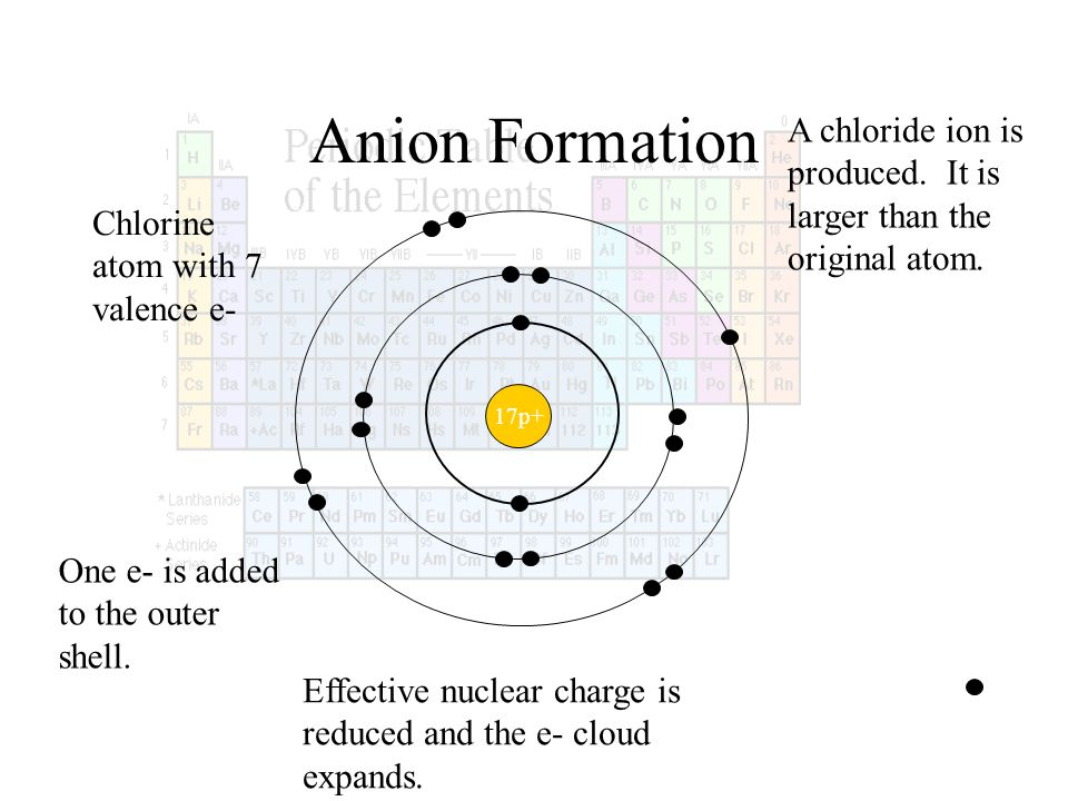 Anion Formation 17p+ Chlorine atom with 7 valence e- One e- is added to the outer shell. Effective nuclear charge is reduced and the e- cloud expands.