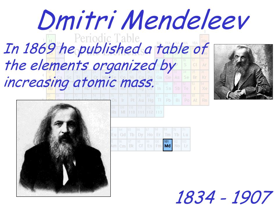 Dmitri Mendeleev 1834 - 1907 In 1869 he published a table of the elements organized by increasing atomic mass.