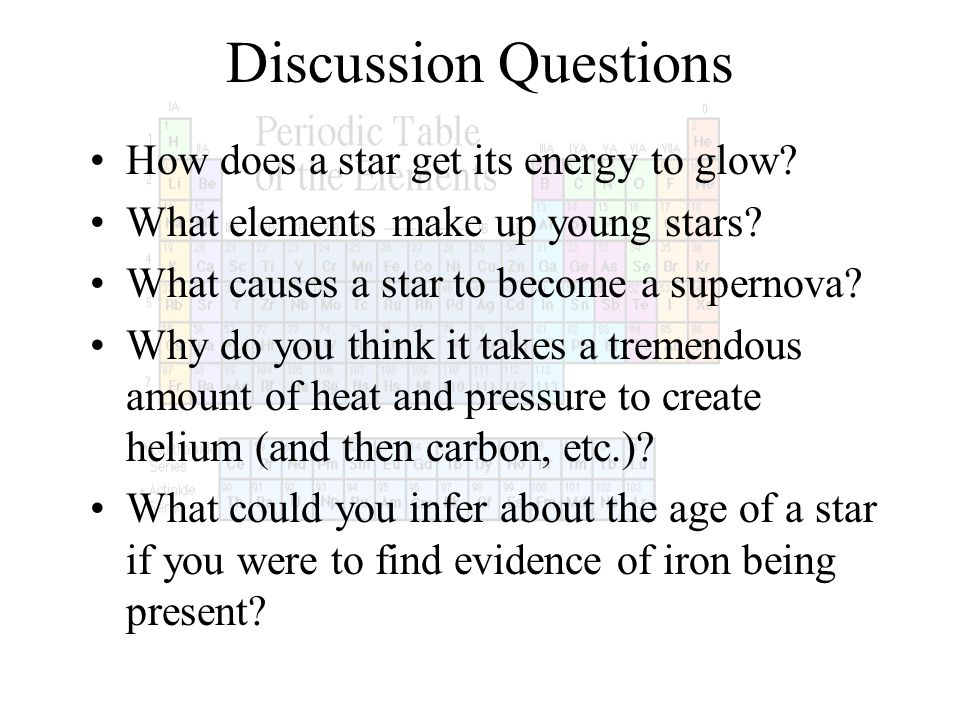 Discussion Questions How does a star get its energy to glow? What elements make up young stars? What causes a star to become a supernova? Why do you t