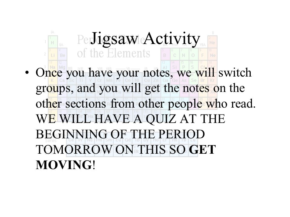 Jigsaw Activity Once you have your notes, we will switch groups, and you will get the notes on the other sections from other people who read. WE WILL