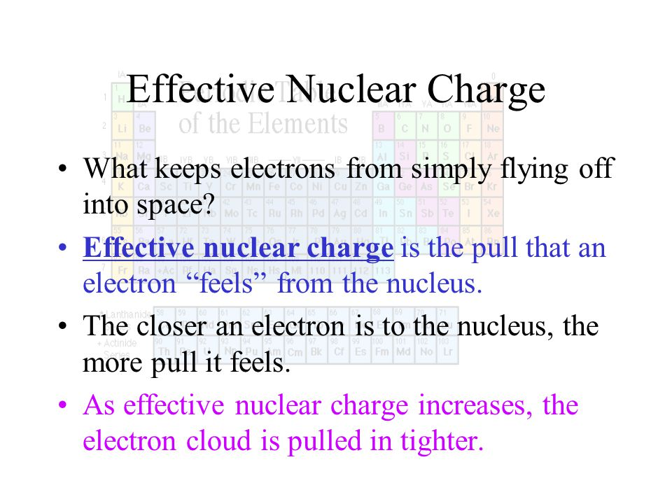 Effective Nuclear Charge What keeps electrons from simply flying off into space? Effective nuclear charge is the pull that an electron feels from the