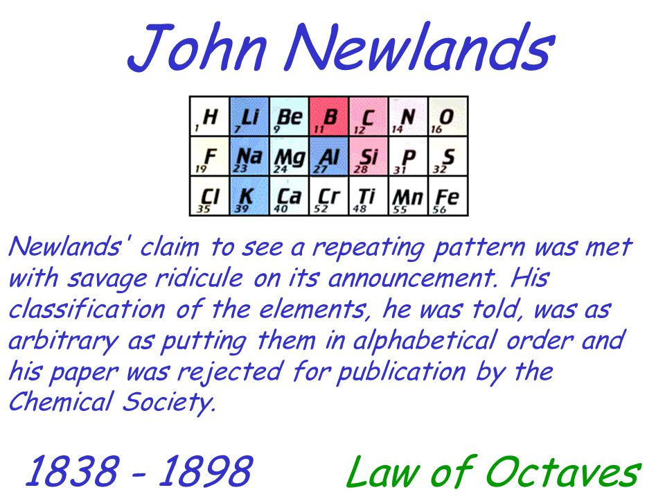 John Newlands 1838 - 1898Law of Octaves Newlands' claim to see a repeating pattern was met with savage ridicule on its announcement. His classificatio