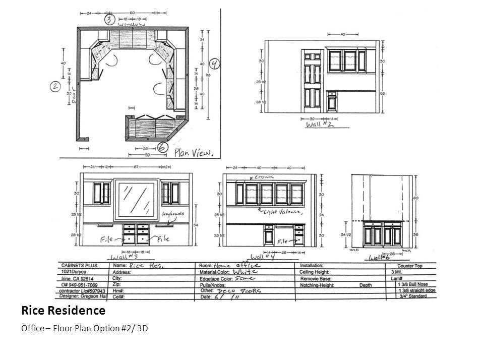 Rice Residence Office – Floor Plan Option #2/ 3D
