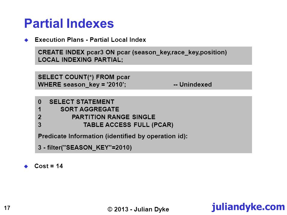 juliandyke.com 17 © 2013 - Julian Dyke Partial Indexes Execution Plans - Partial Local Index CREATE INDEX pcar3 ON pcar (season_key,race_key,position)