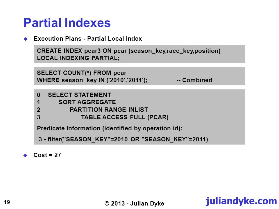 juliandyke.com 19 © 2013 - Julian Dyke Partial Indexes Execution Plans - Partial Local Index SELECT COUNT(*) FROM pcar WHERE season_key IN ('2010','20
