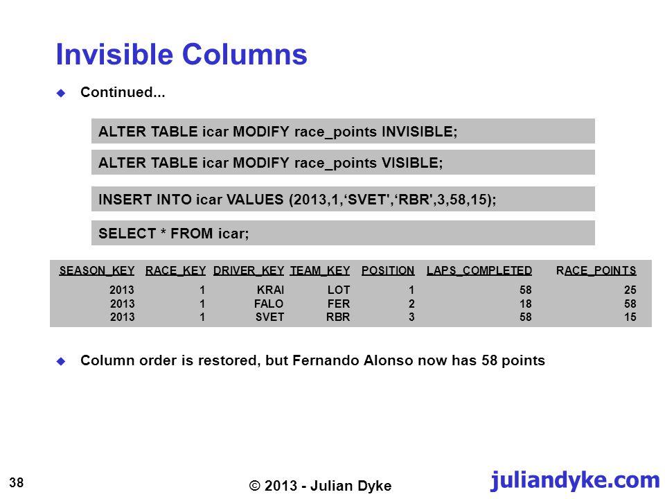 juliandyke.com 38 © 2013 - Julian Dyke Invisible Columns Continued...