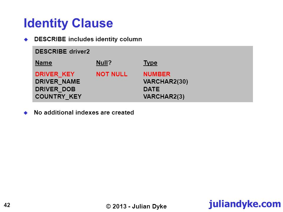 juliandyke.com 42 © 2013 - Julian Dyke Identity Clause DESCRIBE includes identity column DESCRIBE driver2 NameNull?Type DRIVER_KEYNOT NULLNUMBER DRIVER_NAME VARCHAR2(30) DRIVER_DOB DATE COUNTRY_KEY VARCHAR2(3) No additional indexes are created