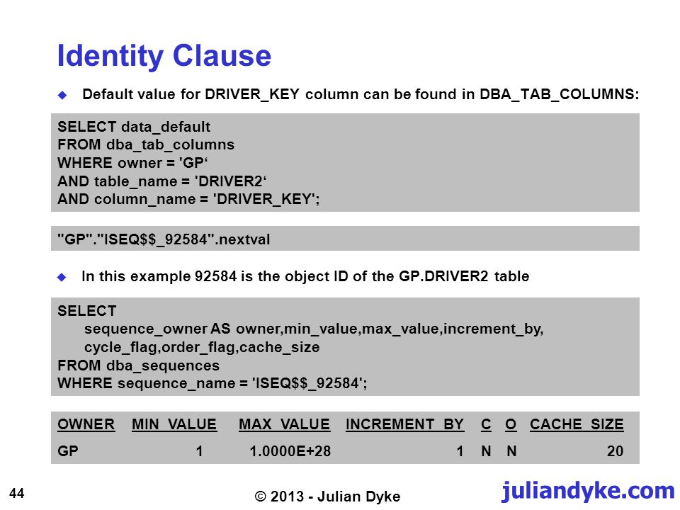 juliandyke.com 44 © 2013 - Julian Dyke Identity Clause Default value for DRIVER_KEY column can be found in DBA_TAB_COLUMNS: SELECT data_default FROM dba_tab_columns WHERE owner = GP AND table_name = DRIVER2 AND column_name = DRIVER_KEY ; GP . ISEQ$$_92584 .nextval SELECT sequence_owner AS owner,min_value,max_value,increment_by, cycle_flag,order_flag,cache_size FROM dba_sequences WHERE sequence_name = ISEQ$$_92584 ; OWNERMIN_VALUEMAX_VALUEINCREMENT_BYCOCACHE_SIZE GP11.0000E+281NN20 In this example 92584 is the object ID of the GP.DRIVER2 table