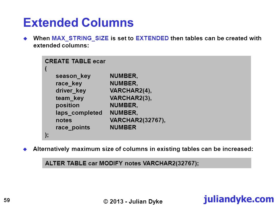 juliandyke.com 59 © 2013 - Julian Dyke Extended Columns When MAX_STRING_SIZE is set to EXTENDED then tables can be created with extended columns: CREATE TABLE ecar ( season_keyNUMBER, race_keyNUMBER, driver_keyVARCHAR2(4), team_keyVARCHAR2(3), positionNUMBER, laps_completedNUMBER, notesVARCHAR2(32767), race_pointsNUMBER ); Alternatively maximum size of columns in existing tables can be increased: ALTER TABLE car MODIFY notes VARCHAR2(32767);