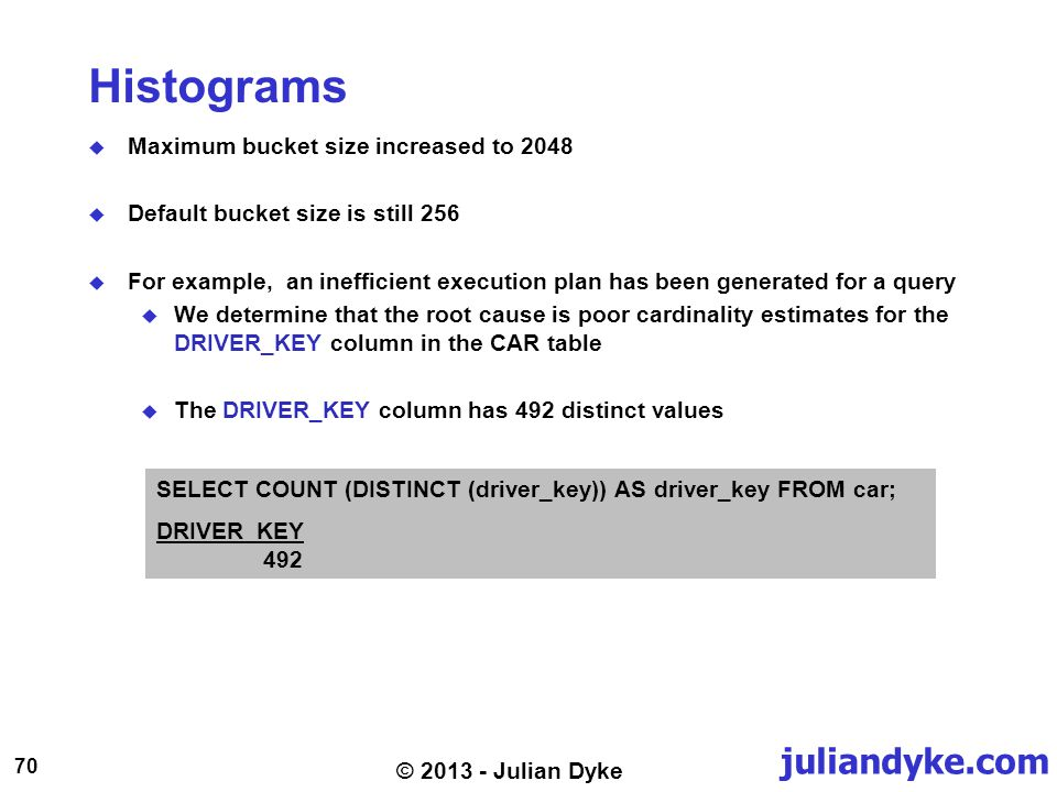 juliandyke.com 70 © 2013 - Julian Dyke Histograms Maximum bucket size increased to 2048 Default bucket size is still 256 For example, an inefficient e