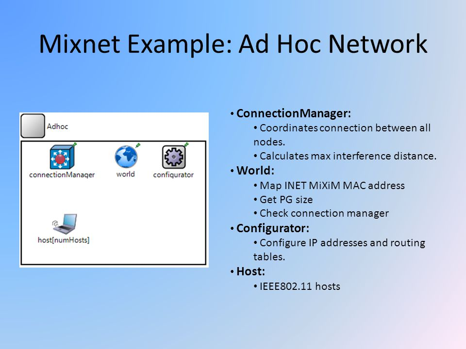 Mixnet Example: Ad Hoc Network ConnectionManager: Coordinates connection between all nodes. Calculates max interference distance. World: Map INET MiXi