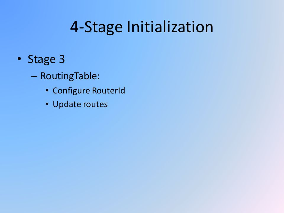 4-Stage Initialization Stage 3 – RoutingTable: Configure RouterId Update routes
