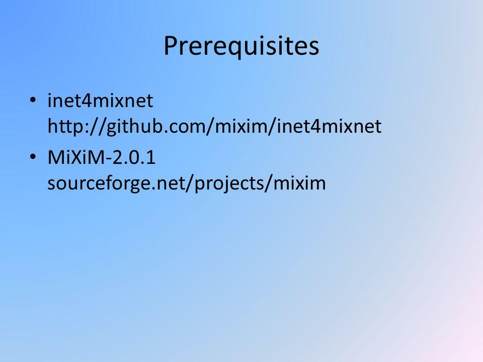 Prerequisites inet4mixnet http://github.com/mixim/inet4mixnet MiXiM-2.0.1 sourceforge.net/projects/mixim