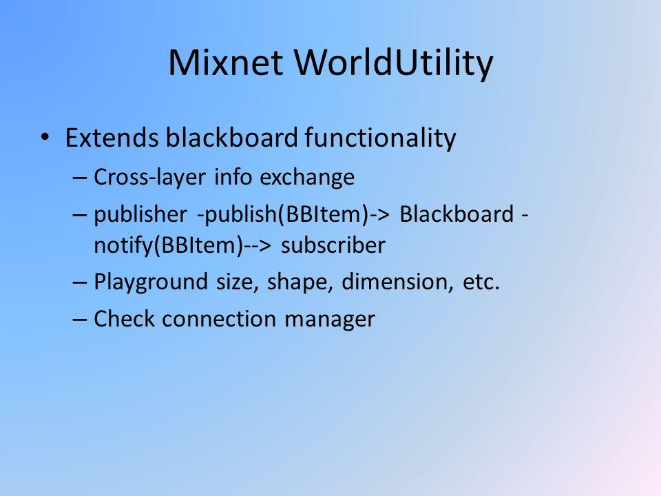 Mixnet WorldUtility Extends blackboard functionality – Cross-layer info exchange – publisher -publish(BBItem)-> Blackboard - notify(BBItem)--> subscri