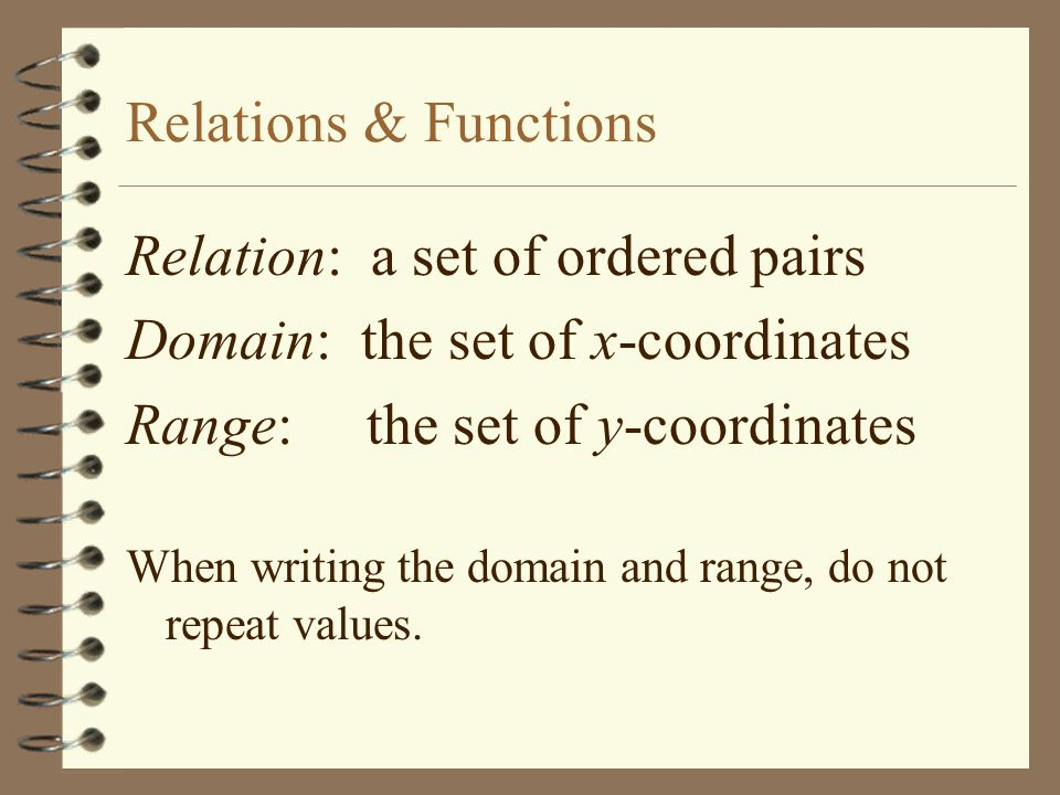 Relations and Functions Given the relation: {(2, -6), (1, 4), (2, 4), (0,0), (1, -6), (3, 0)} State the domain: D: {0,1, 2, 3} State the range: R: {-6, 0, 4}