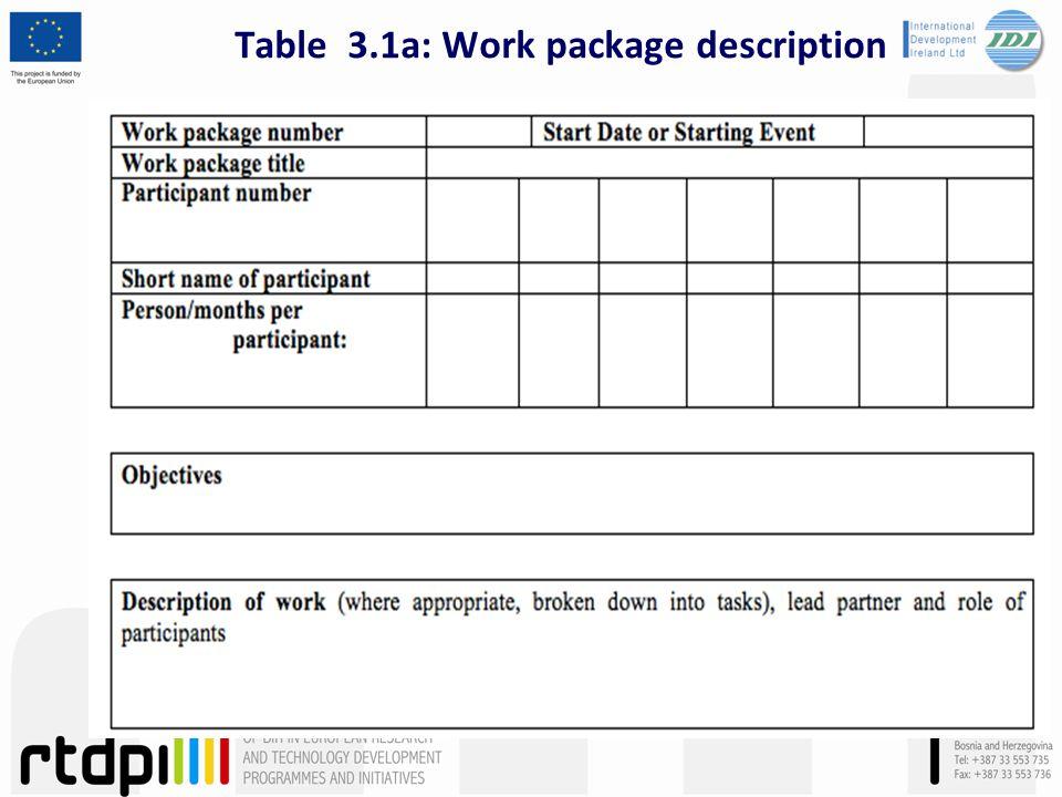Table 3.1a: Work package description