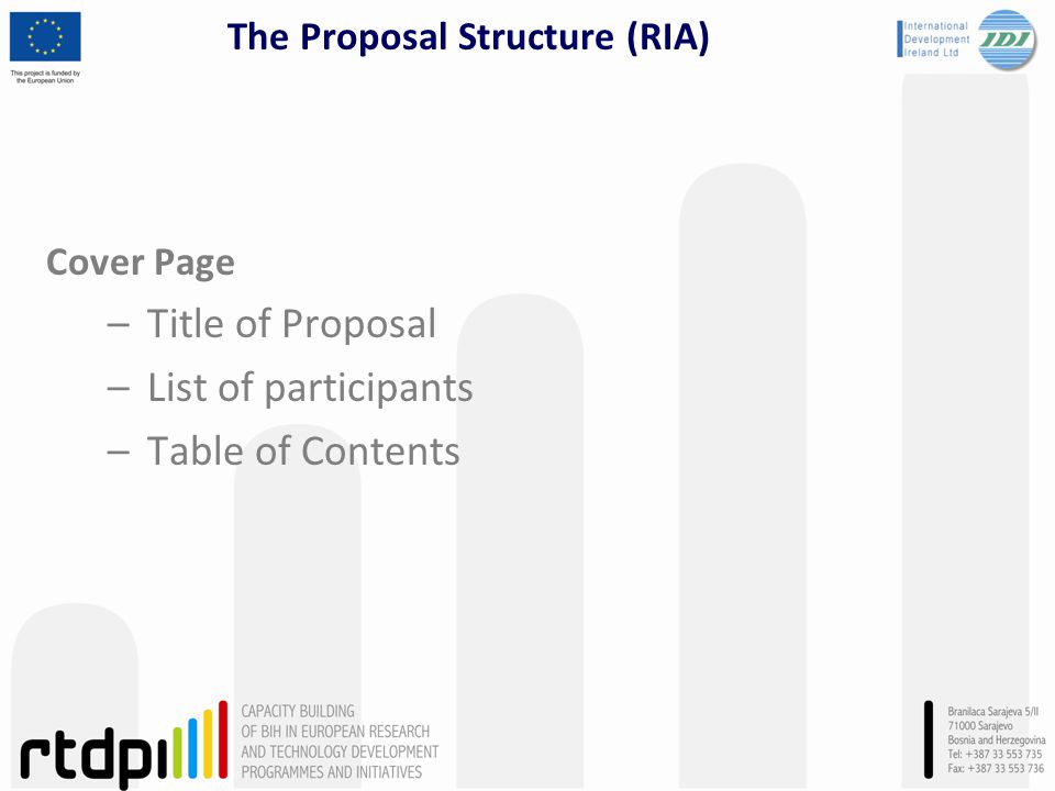 The Proposal Structure (RIA) Cover Page –Title of Proposal –List of participants –Table of Contents