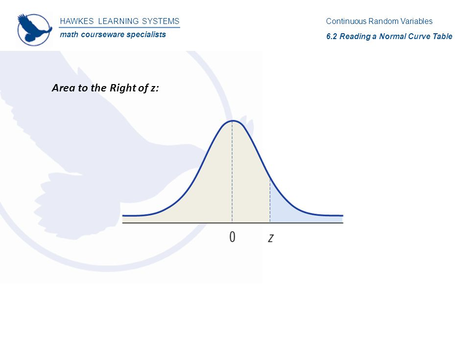 HAWKES LEARNING SYSTEMS math courseware specialists Area to the Right of z: Continuous Random Variables 6.2 Reading a Normal Curve Table
