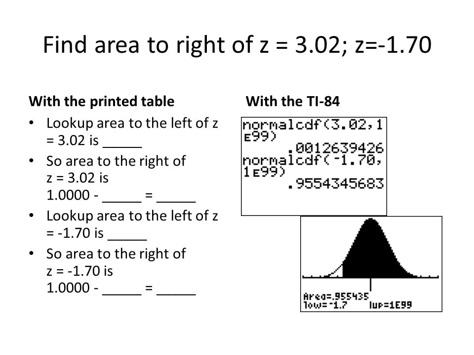Find area to right of z = 3.02; z=-1.70 With the printed table Lookup area to the left of z = 3.02 is _____ So area to the right of z = 3.02 is 1.0000 - _____ = _____ Lookup area to the left of z = -1.70 is _____ So area to the right of z = -1.70 is 1.0000 - _____ = _____ With the TI-84