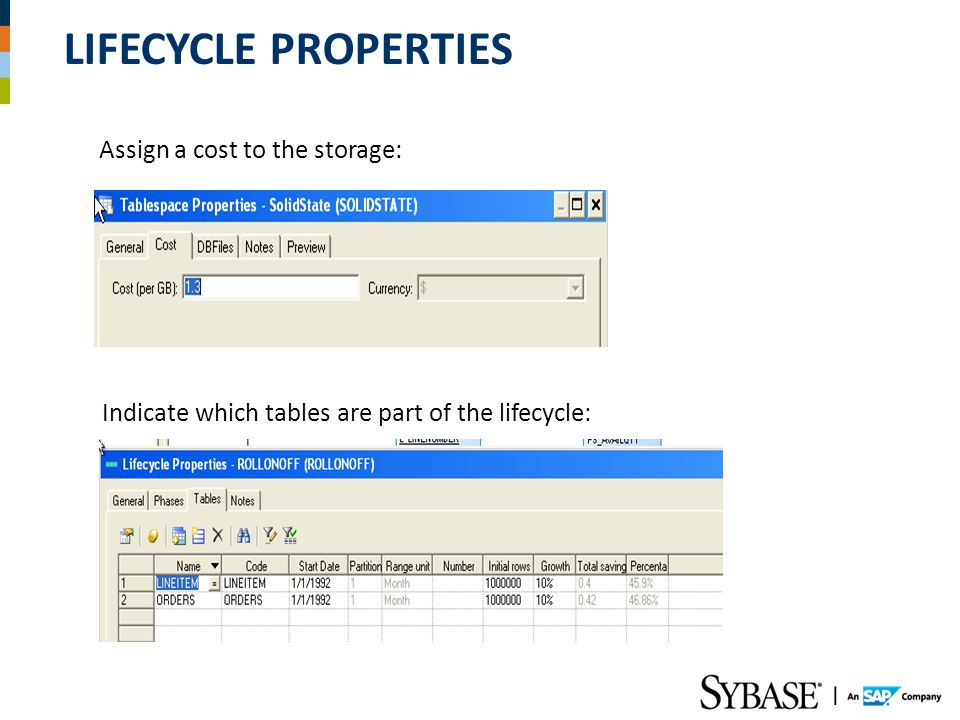 LIFECYCLE PROPERTIES Assign a cost to the storage: Indicate which tables are part of the lifecycle: