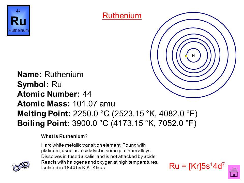 Name: Technetium Symbol: Tc Atomic Number: 43 Atomic Mass: (98.0) amu Melting Point: 2200.0 °C (2473.15 °K, 3992.0 °F) Boiling Point: 4877.0 °C (5150.